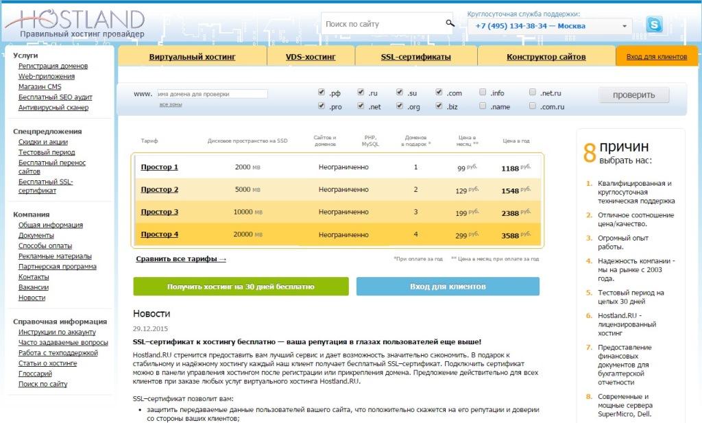 Главная страница сайта Hostland.ru