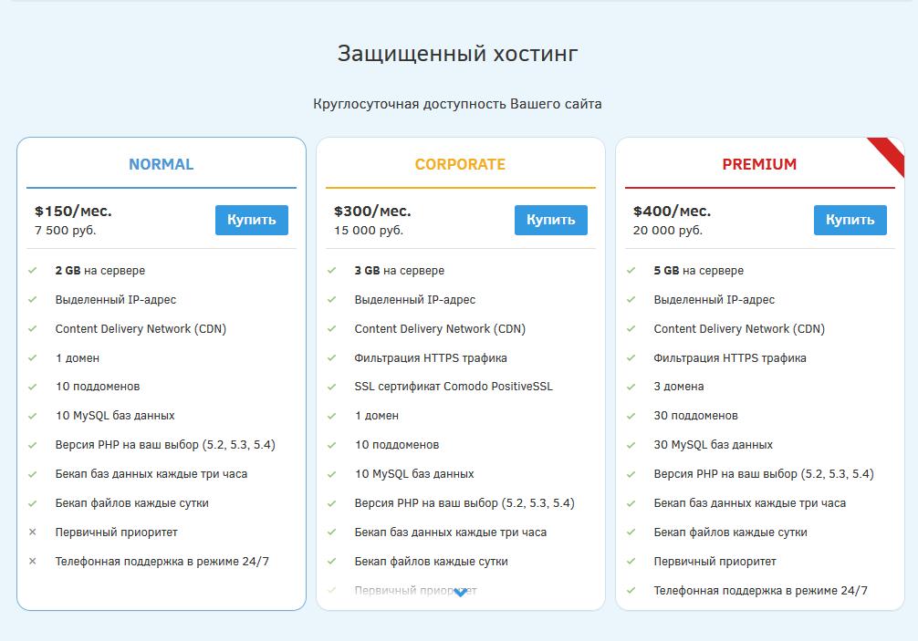 DDoS-Guard тарифы на хостинг сайтов