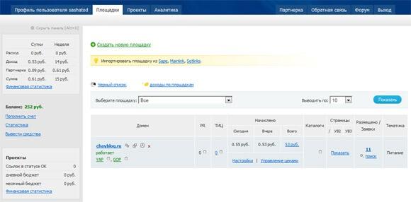 Linkfeed интерфейс для работы